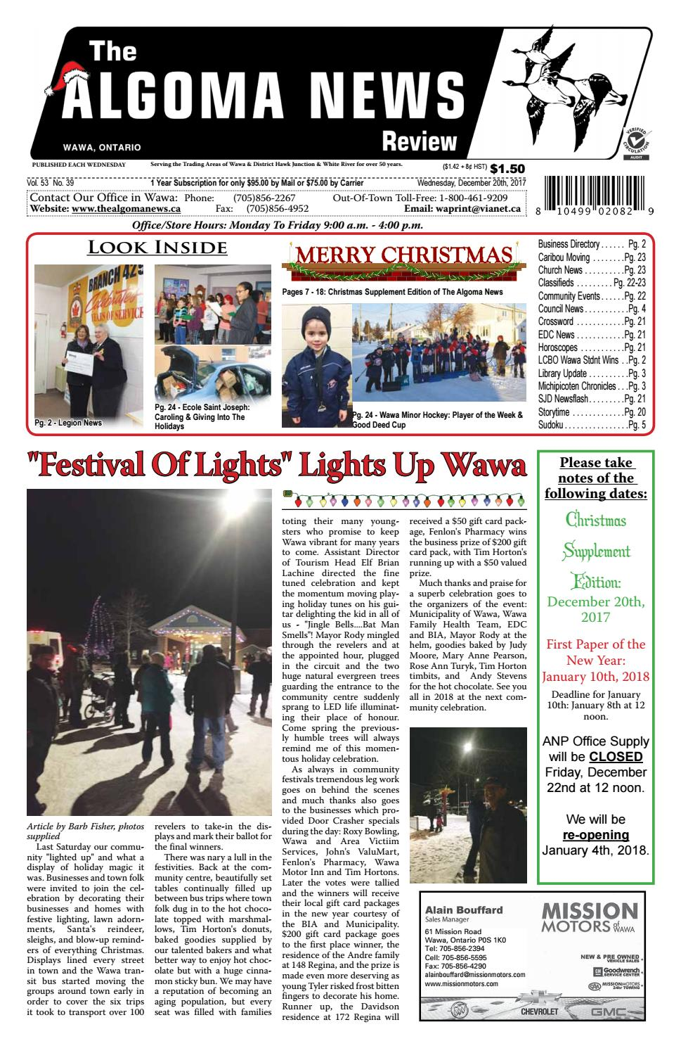December 20th & christmas supplement, 2017 exported by Algomanews ...