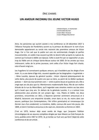Un Amour Secret De Victor Hugo 1817 Par Eric Chams 2017