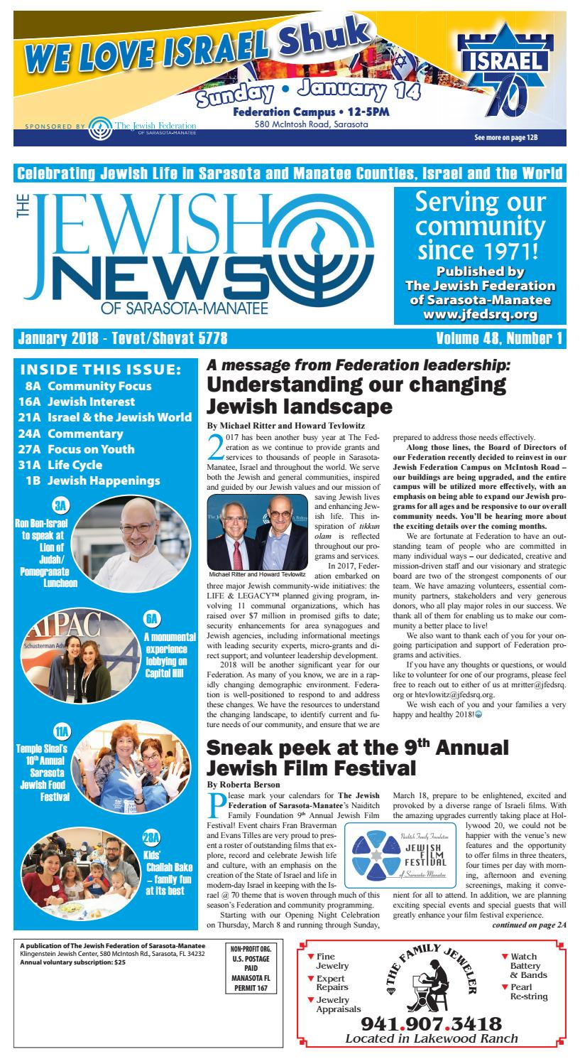The Jewish News - January 2018 by The Jewish Federation of Sarasota-Manatee  - issuu