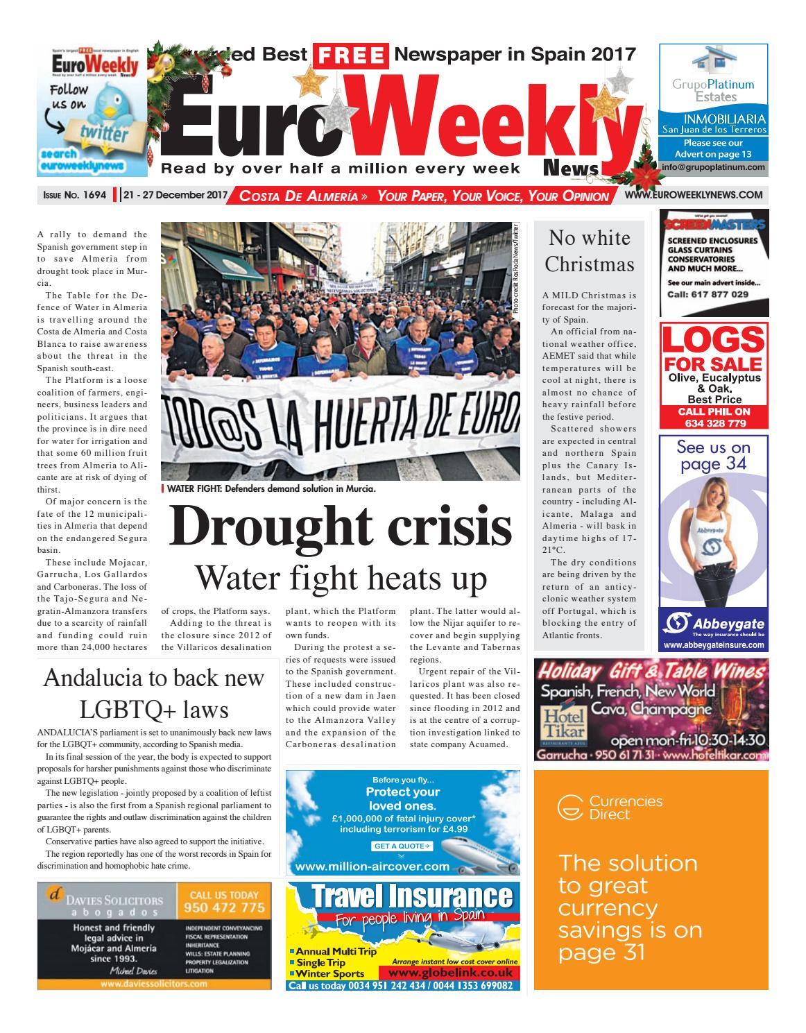 Euro Weekly News Costa De Almeria 21 27 December 2017 Issue  # Muebles Jerez Almendricos