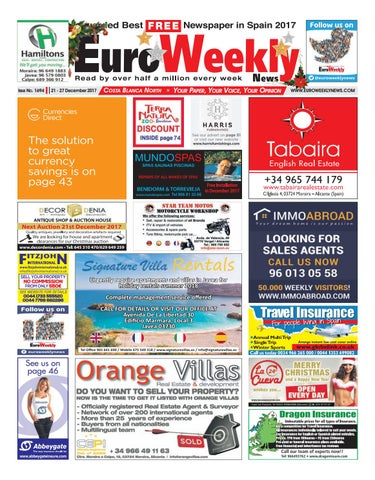 Euro weekly news costa blanca north 21 27 december 2017 issue page 1 fandeluxe Image collections