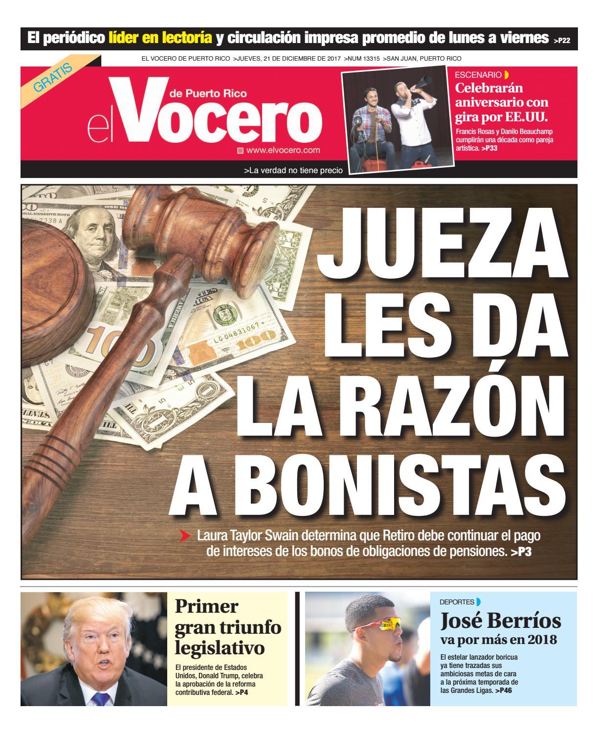 newest cdebf 7722e Edición del 21 de diciembre de 2017 by El Vocero de Puerto Rico - issuu