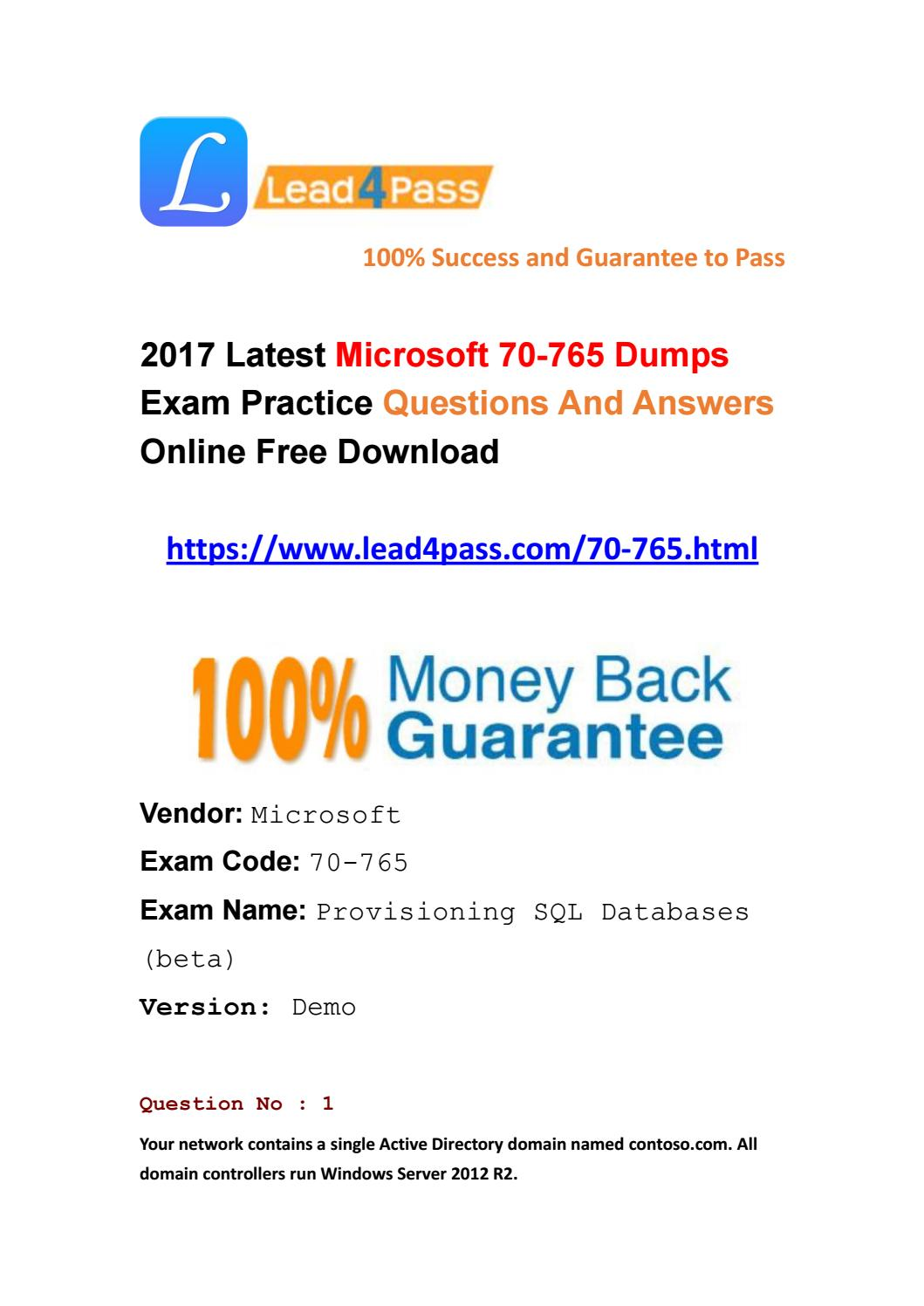 2017 lead4pass new microsoft 70 765 dumps pdf materials by latest 2017 lead4pass new microsoft 70 765 dumps pdf materials by latest lead4pass dumps issuu 1betcityfo Choice Image