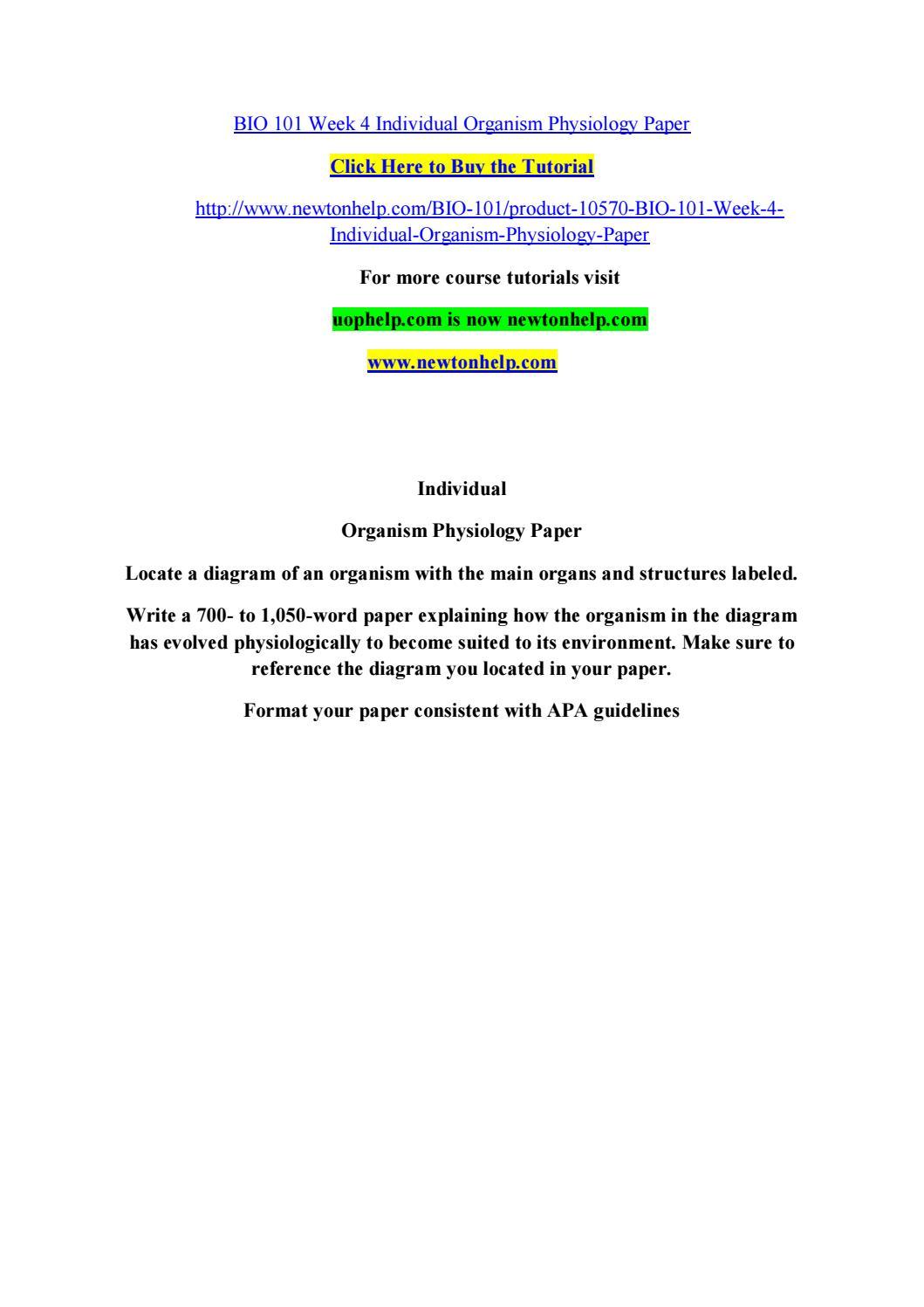 Bio 101 week 4 organism phy