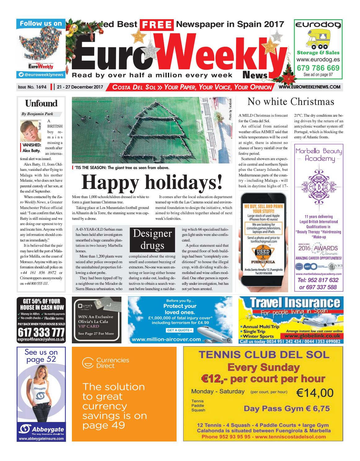 Euro Weekly News - Costa del Sol 21 - 27 December 2017 Issue 1694 by Euro  Weekly News Media S.A. - issuu