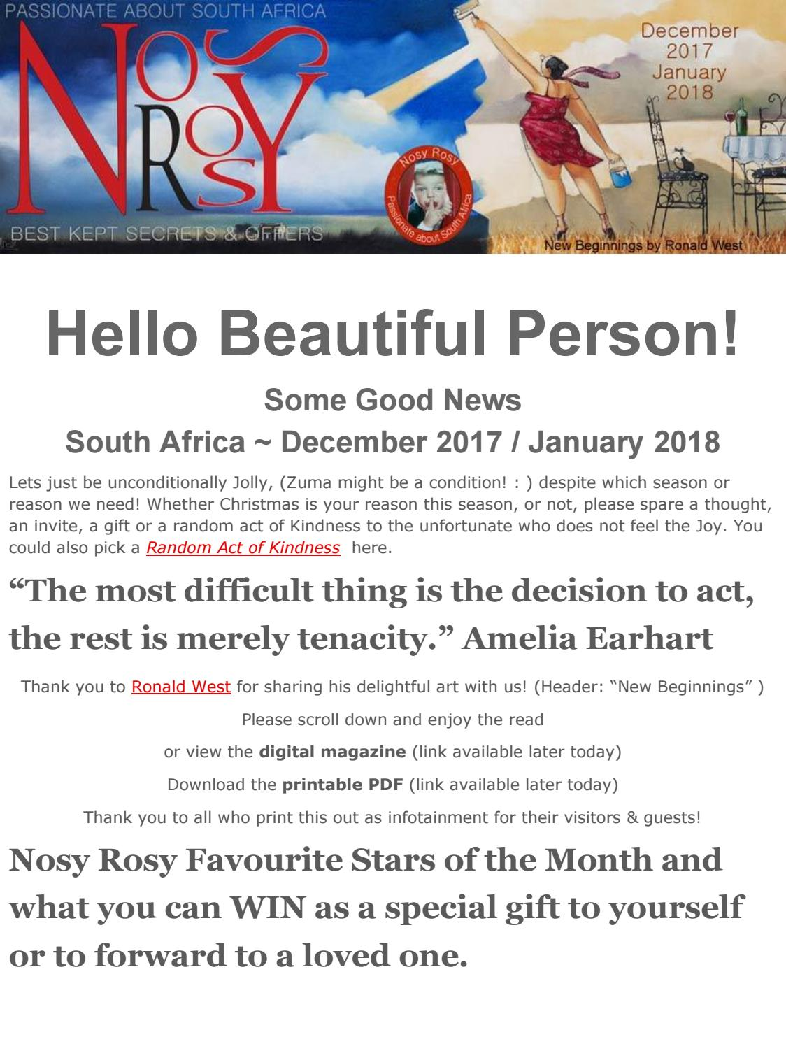 Some Good News South Africa December 2017 January 2018 By Nosy Rosy Issuu