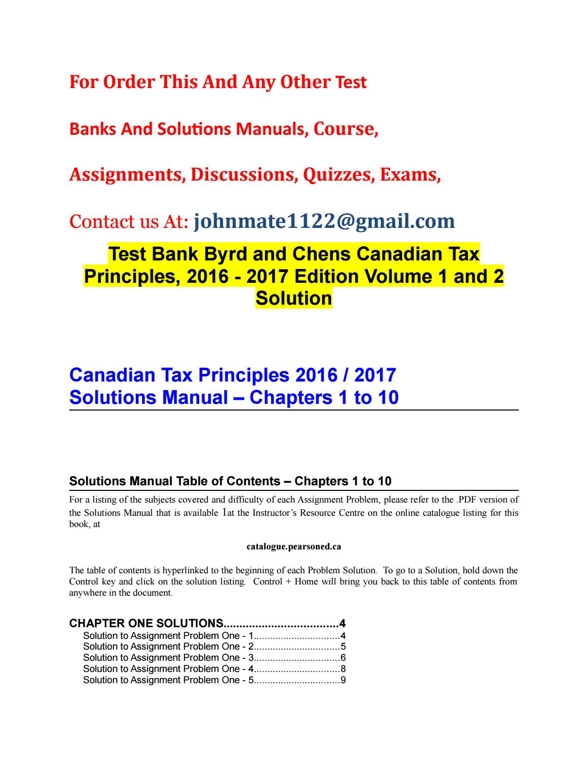 Test bank byrd and chens canadian tax principles, 2016 2017 edition volume  1 and 2 solution by yandex325 - issuu