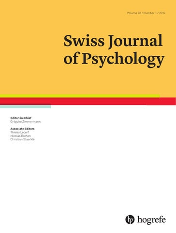 Leseprobe Swiss J Of Psychology 2018 By Hogrefe Issuu