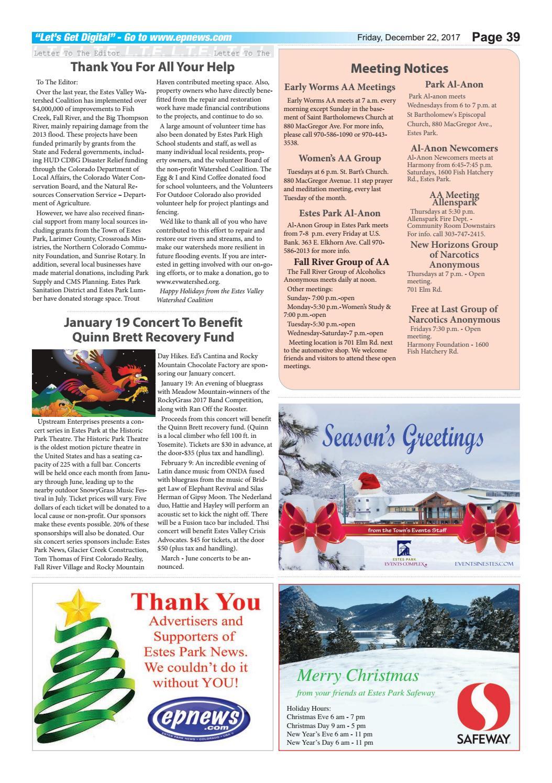 Estes Park News, December 19, 2017 by Estes Park News, Inc - issuu