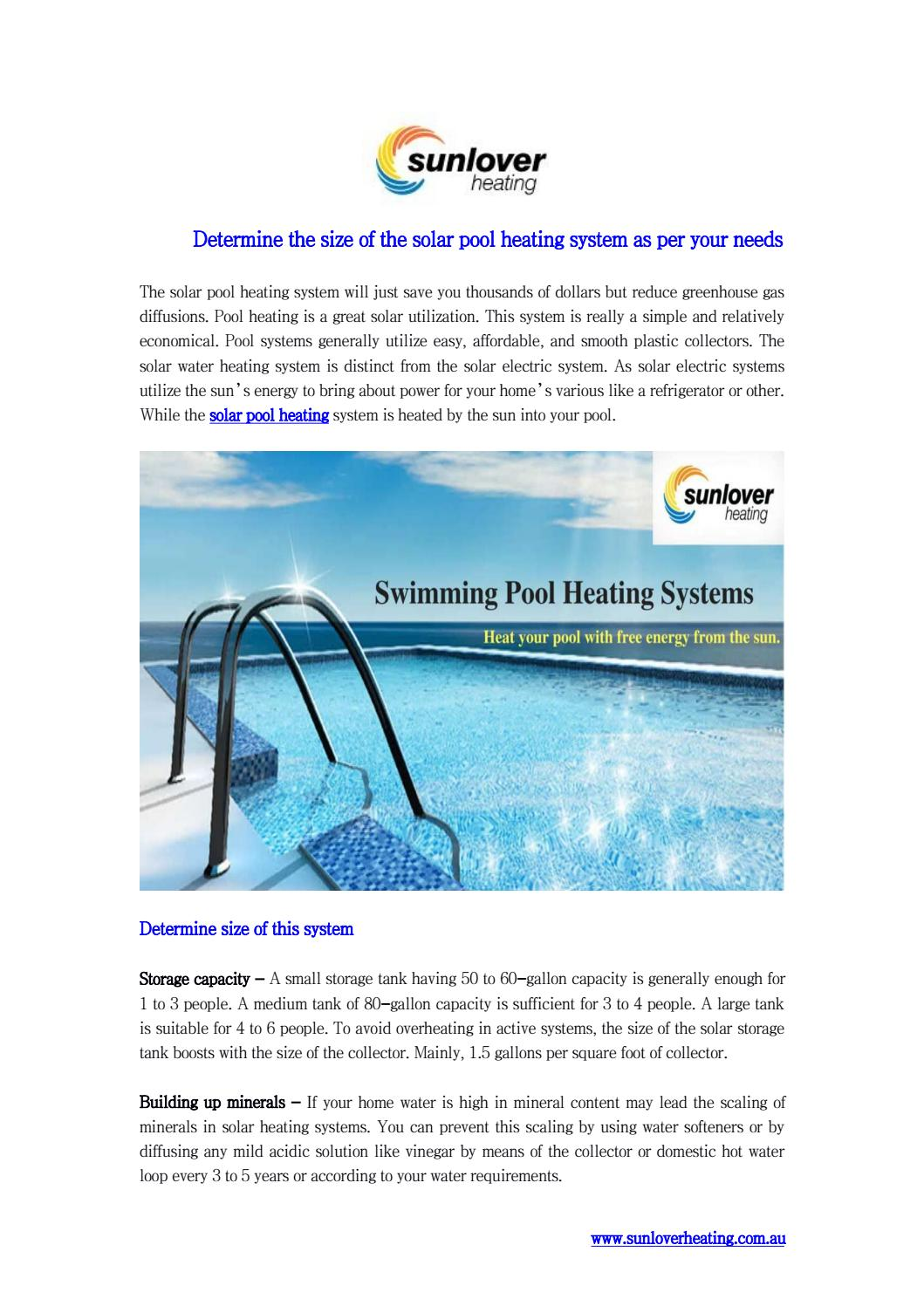 Determine the size of the solar pool heating system as per your ...