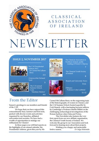 "Cover of ""Classical Association of Ireland Newsletter November 2017"""