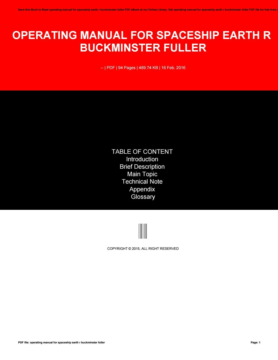 Operating manual for spaceship earth r buckminster fuller by w623 - issuu