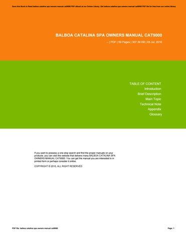 balboa catalina spa owners manual cat9000 by mailfs9 issuu rh issuu com