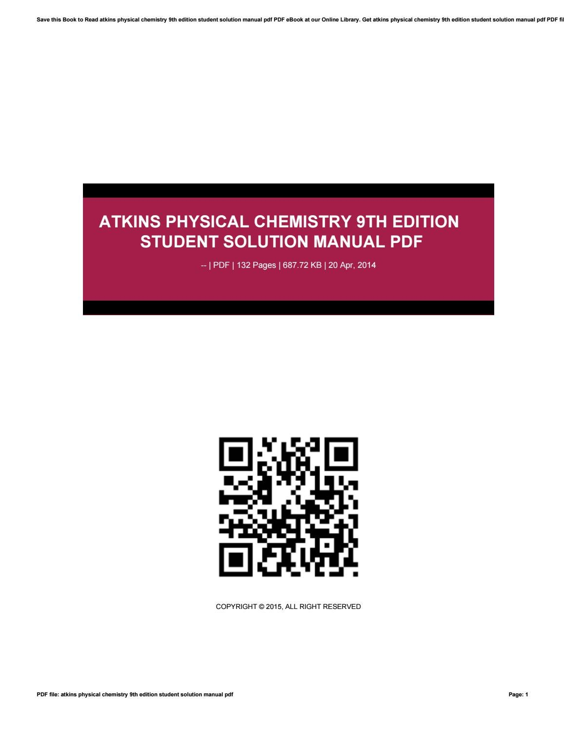 Atkins physical chemistry 9th edition student solution manual pdf by  preseven - issuu