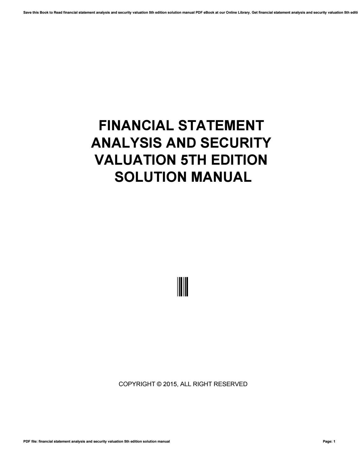 Financial statement analysis and security valuation 5th edition solution  manual by morriesworld - issuu