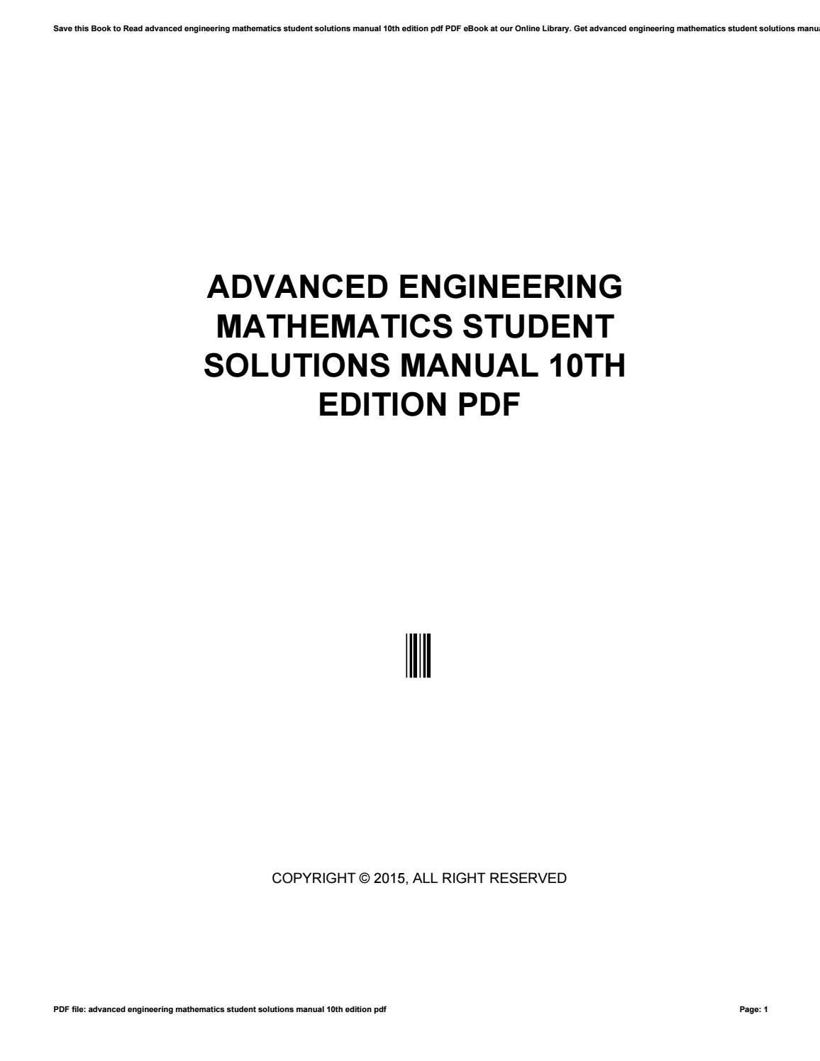 Advanced engineering mathematics student solutions manual 10th edition pdf  by morriesworld - issuu
