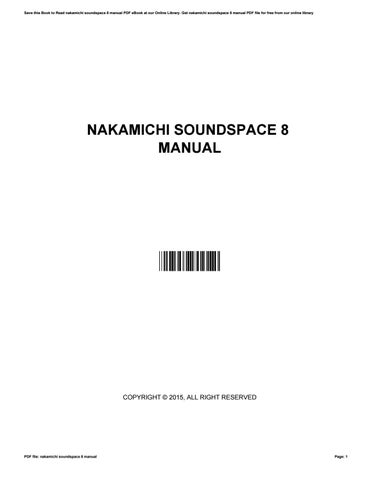 nakamichi soundspace 8 manual by mdhc8 issuu rh issuu com Nakamichi SoundSpace 8 Review nakamichi soundspace 8 review