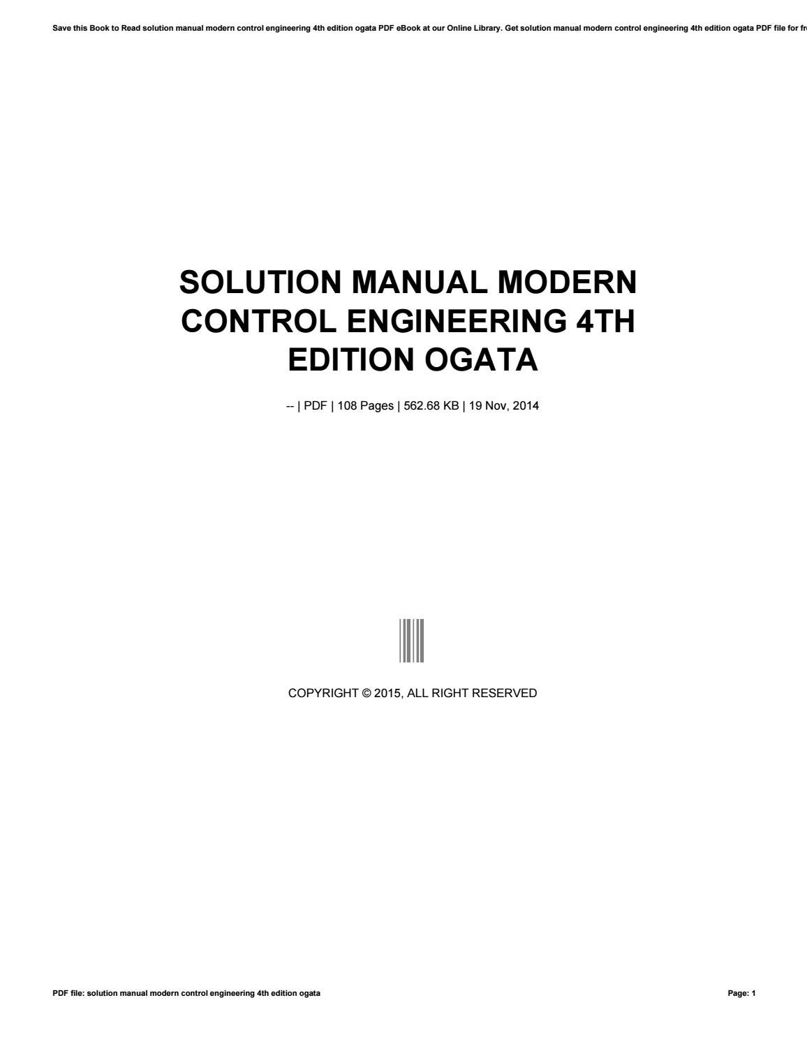 Solution manual modern control engineering 4th edition ogata by preseven3 -  issuu