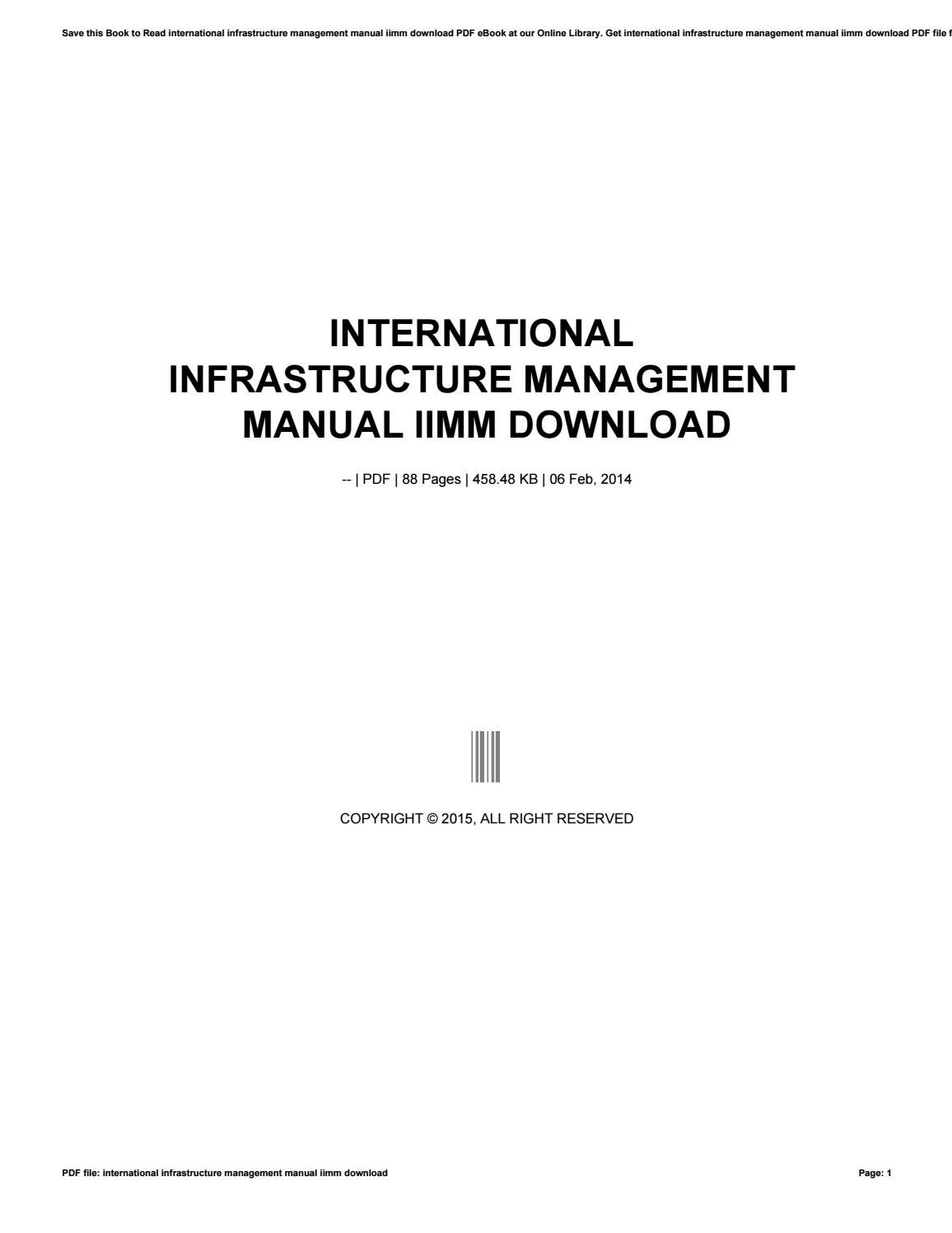 International infrastructure management manual iimm download by preseven3 -  issuu