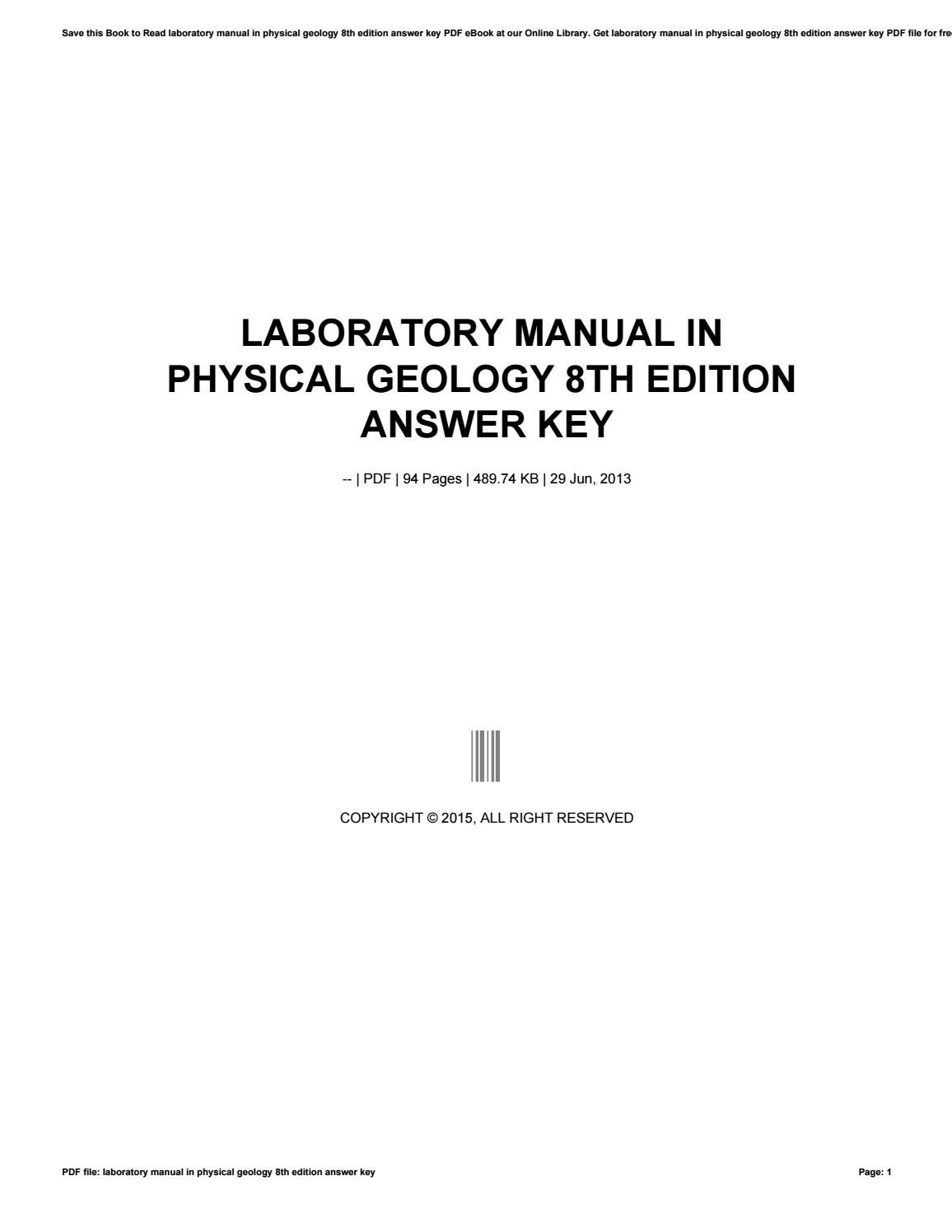 Laboratory manual in physical geology 8th edition answer ...