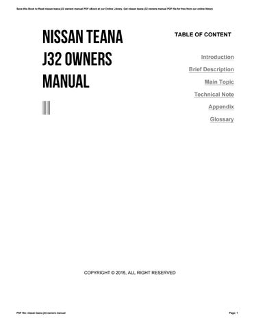 nissan teana j32 owners manual by wierie issuu rh issuu com nissan altima 2005 manual book nissan x trail manual book