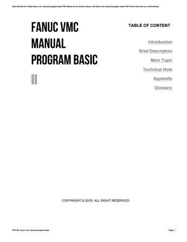 fanuc vmc manual program basic by apssdc7 issuu rh issuu com