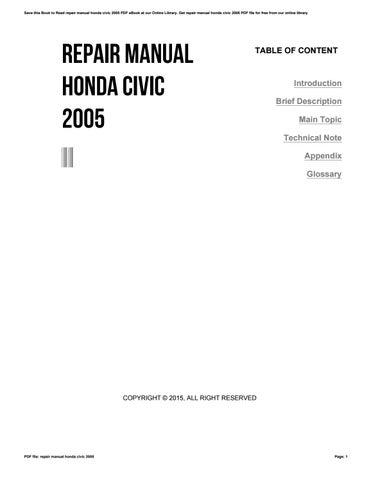 honda civic online repair manual