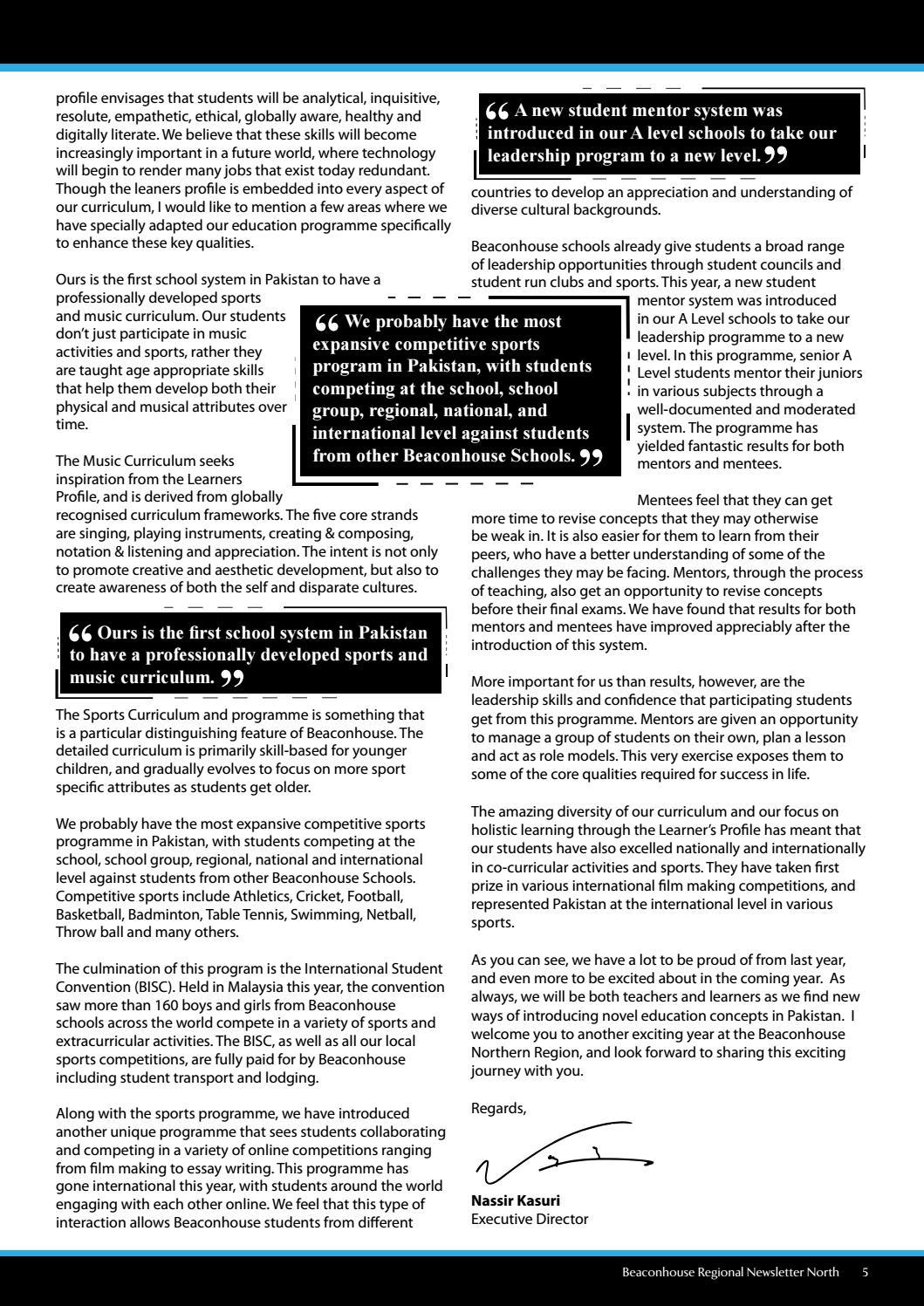 Regional Newsletter North Beaconhouse School System 2017-18