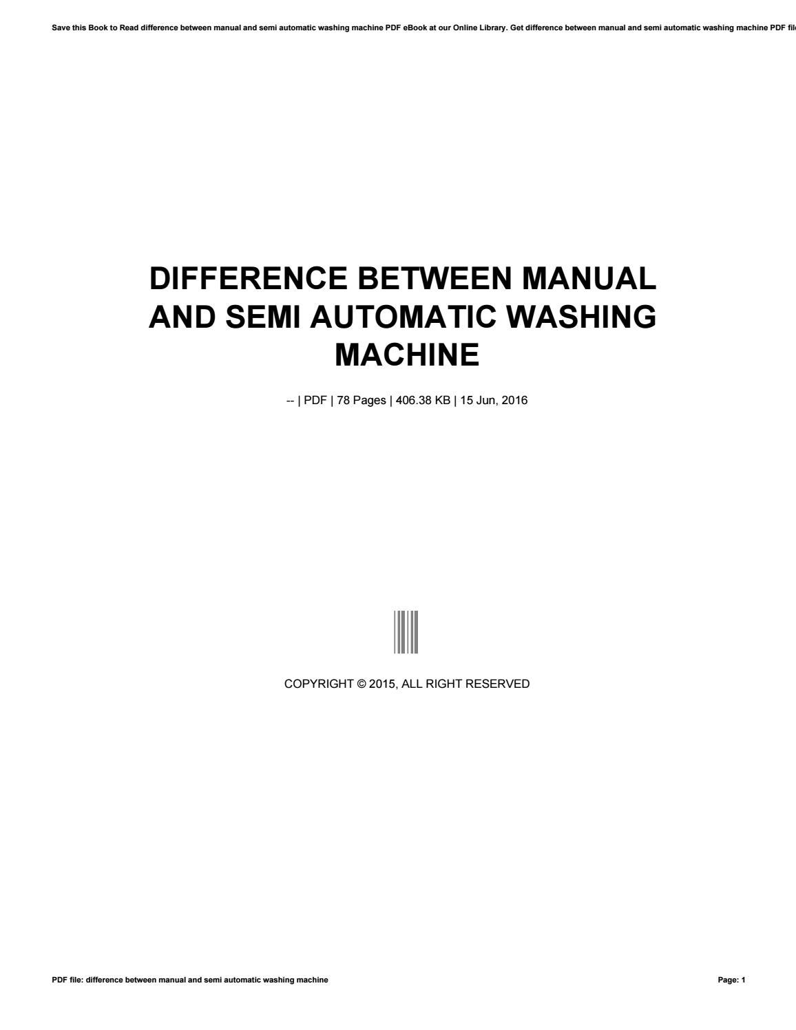 Difference between manual and semi automatic washing machine by 50mb1 -  issuu