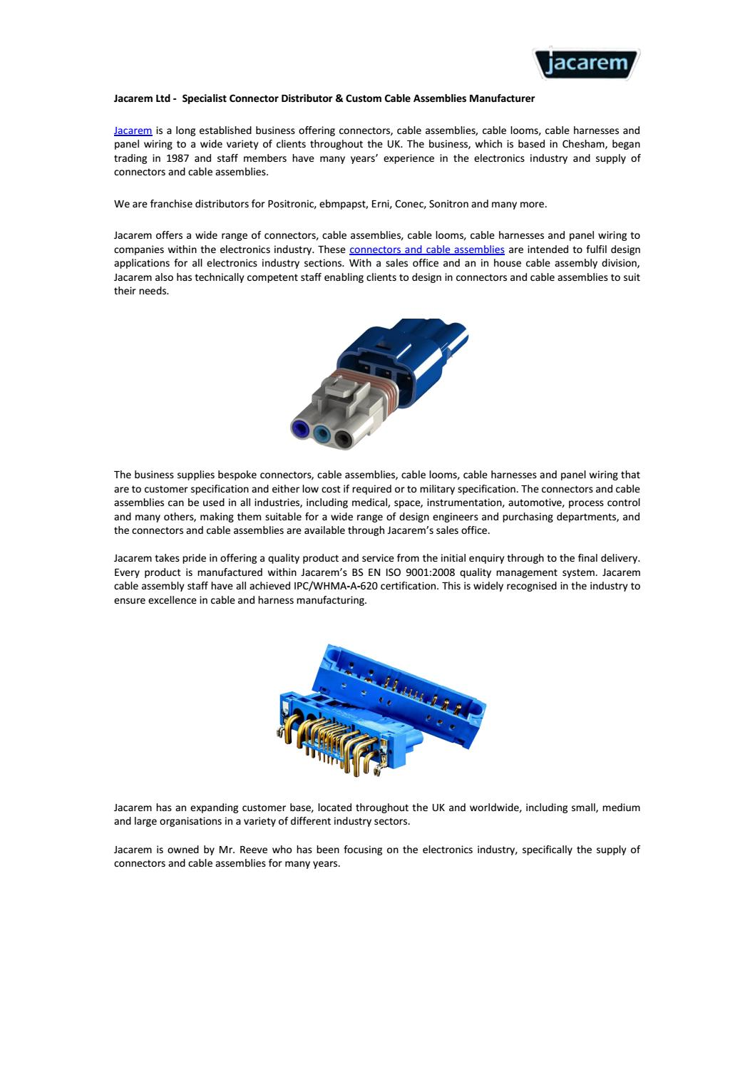 Jacarem Ltd Specialist Connector Distributor Custom Cable Wiring Harness Manufacturers Uk Assemblies Manufacturer By Issuu