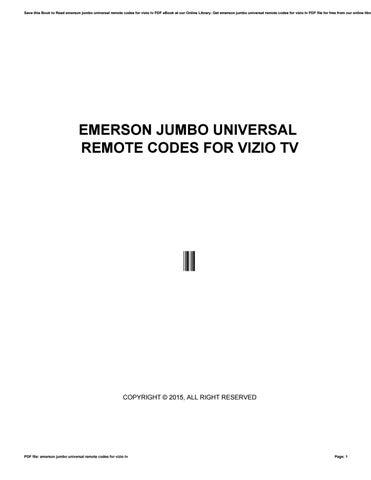 Emerson jumbo universal remote codes for vizio tv by o2927 - issuu