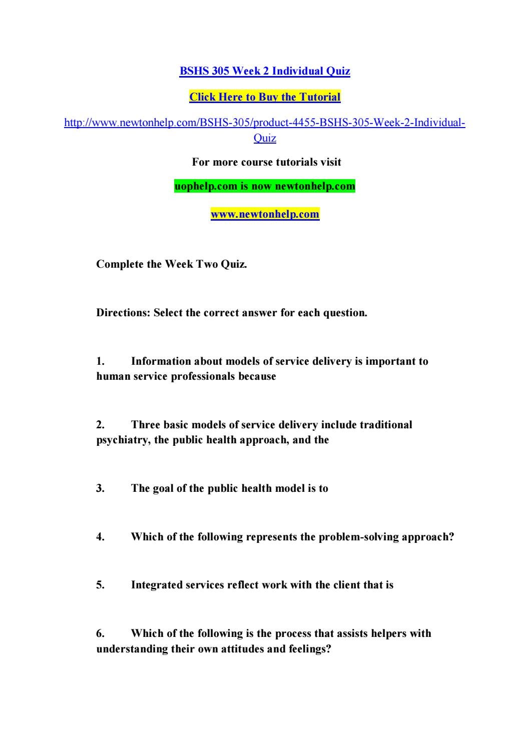 Bshs 305 week 2 individual quiz by sajchfasd hhdjasdbnk321