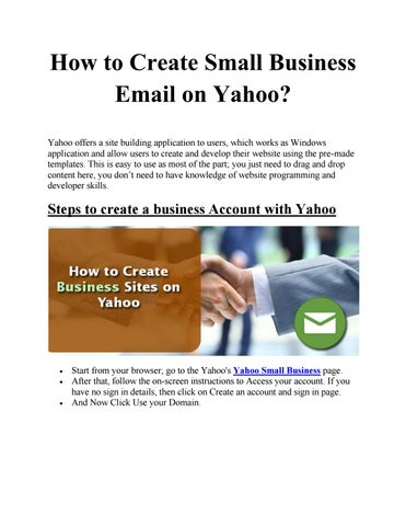 Create small business email on yahoo by nancywillson issuu how to create small business email on yahoo yahoo offers a site building application to users which works as windows application and allow users to create wajeb Image collections