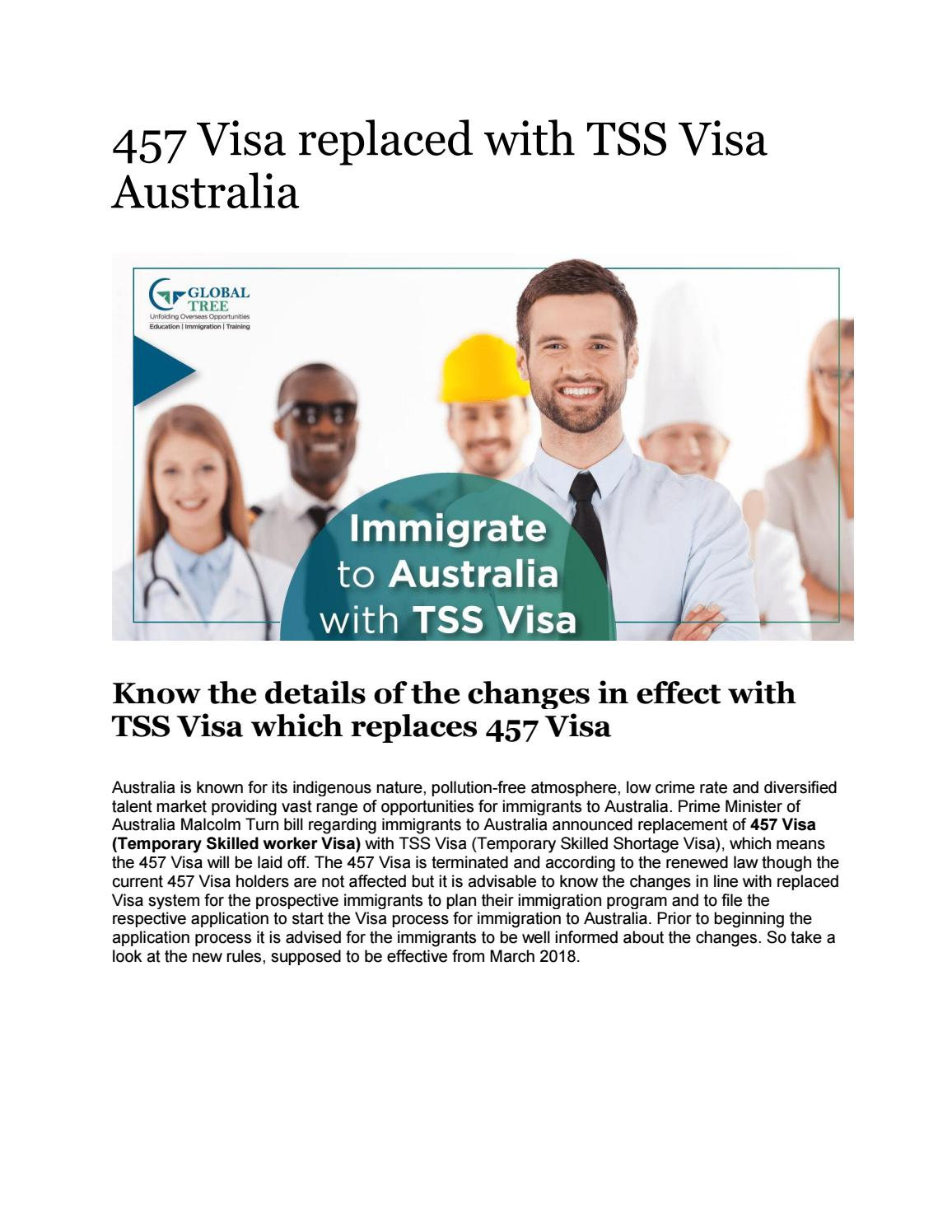 457 visa replaced with tss visa australia by Global Tree - issuu