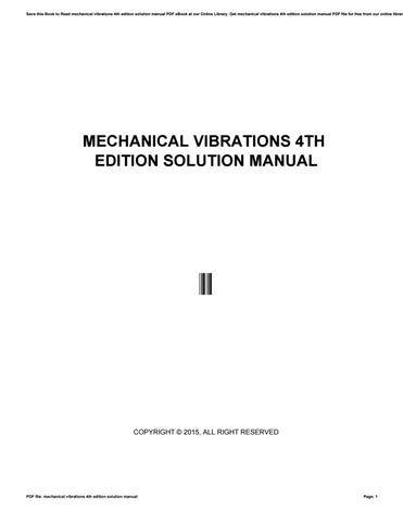 mechanical vibrations 4th edition solution manual by mankyrecords5 rh issuu com Mechanical Vibration Notes ss rao mechanical vibrations 4th edition solution manual pdf