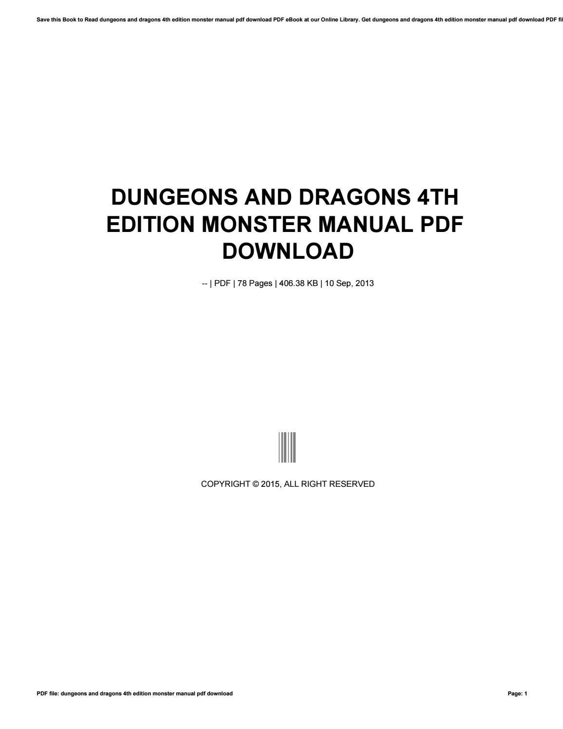 Dungeons and dragons 4th edition monster manual pdf download by as6717 -  issuu