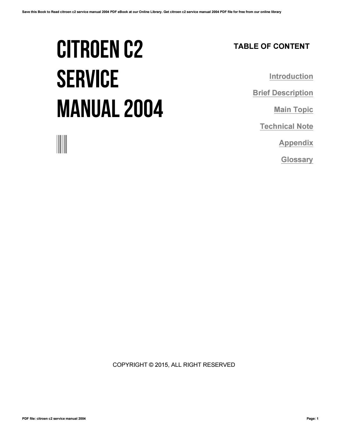citroen c2 service manual 2004 by harvard ac uk8 issuu rh issuu com citroen c2 owners workshop manual citroen c2 vtr service manual
