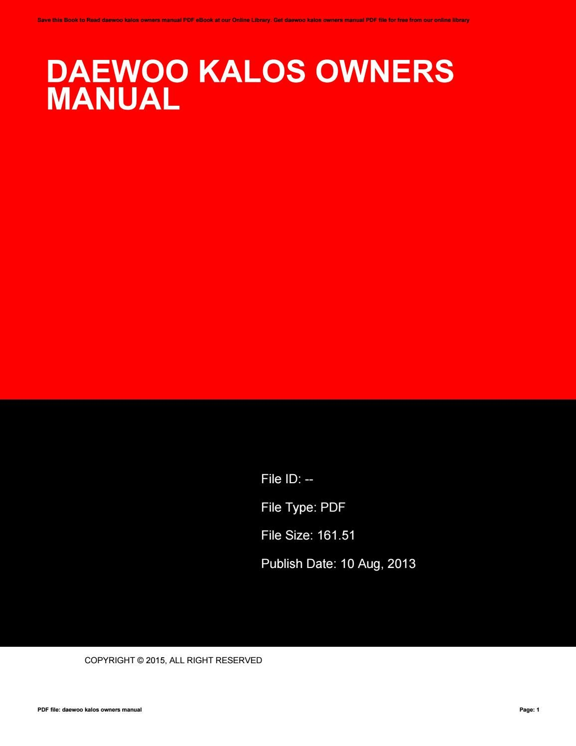 Daewoo kalos workshop manual pdf.