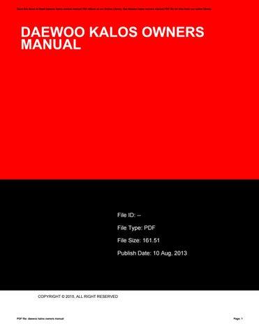 Chevrolet kalos service manual.