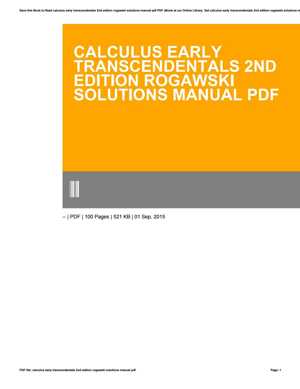 Calculus early transcendentals 2nd edition rogawski solutions manual pdf by  p495 - issuu