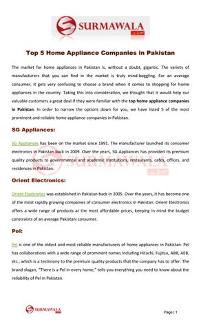 surmawal top 5 home appliance companies in pakistan by millymat456