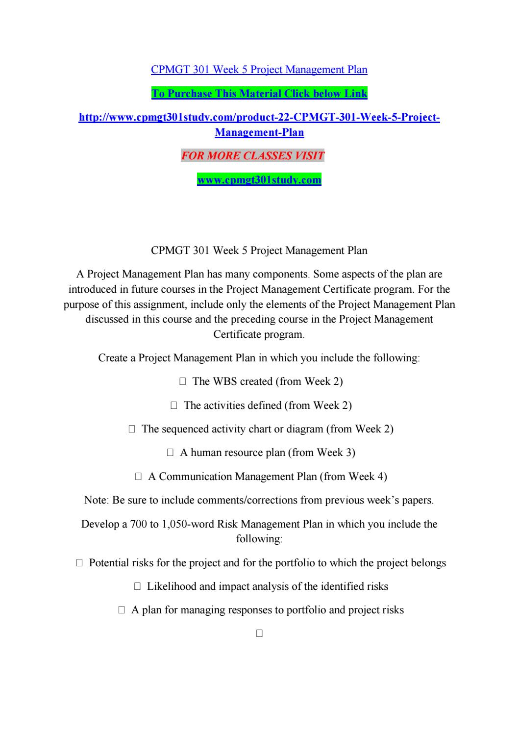 Cpmgt 301 Week 5 Project Management Plan By Banglorechowdaryroyal
