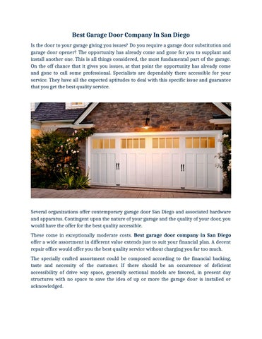 Best Garage Door Company In San Diego By Radford Overhead Doors Issuu