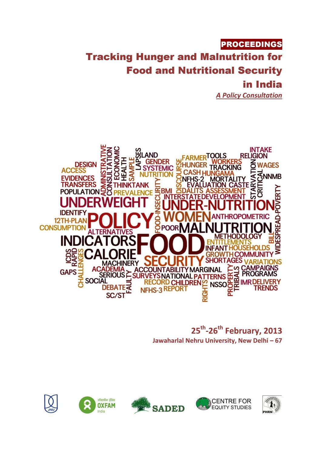 Tracking Hunger And Malnutriton for Food and Nutritional Security