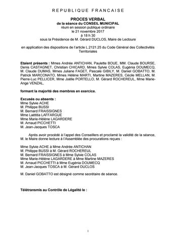 Pv De La Séance Du Cm Du 21 Novembre 2017 By Alicia S Issuu