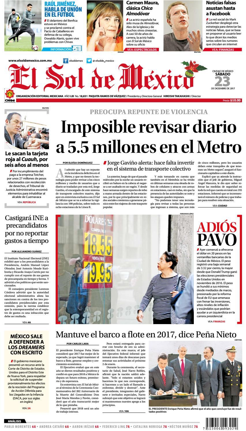 El Sol de México 23 de Diciembre de 2017 by El Sol de México - issuu 119459de42d