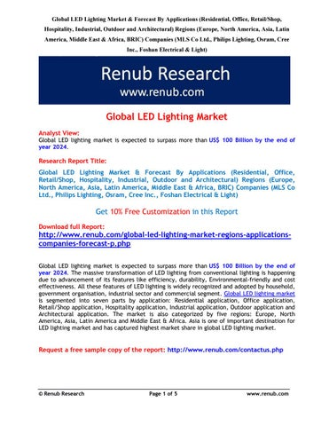 Global Led Lighting Market Forecast By Rajat Gupta Issuu