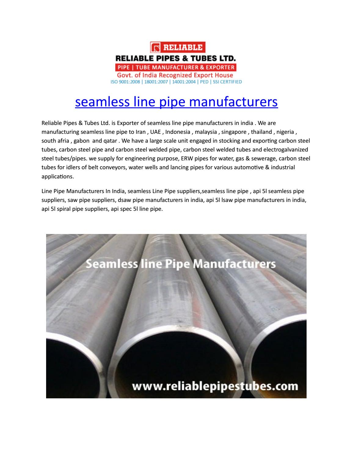 Seamless line pipe manufacturers by reliablepipestubes - issuu