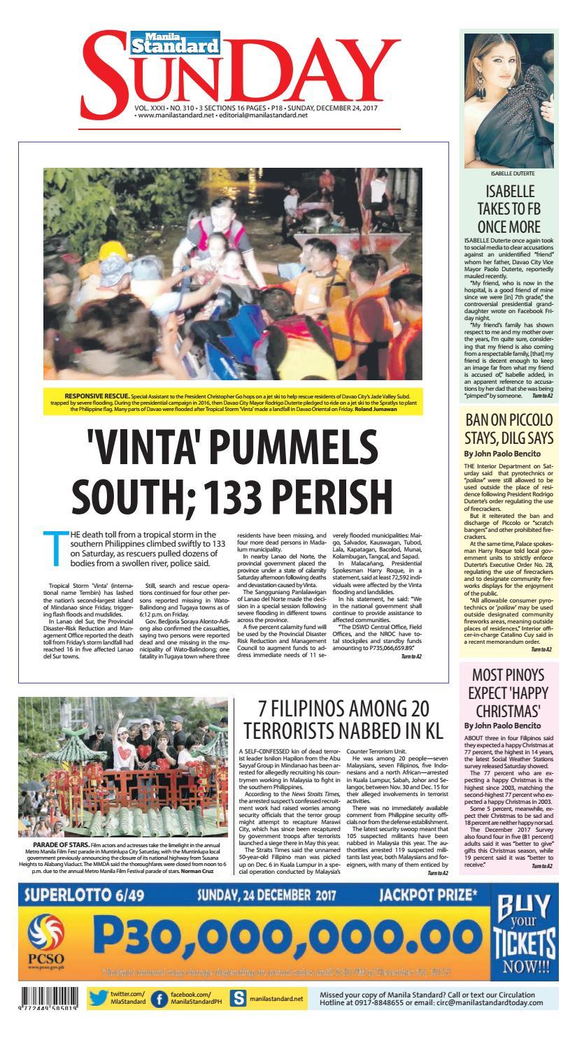 44bcbe12b7a5 Manila Standard - 2017 December 24 - Sunday by Manila Standard - issuu