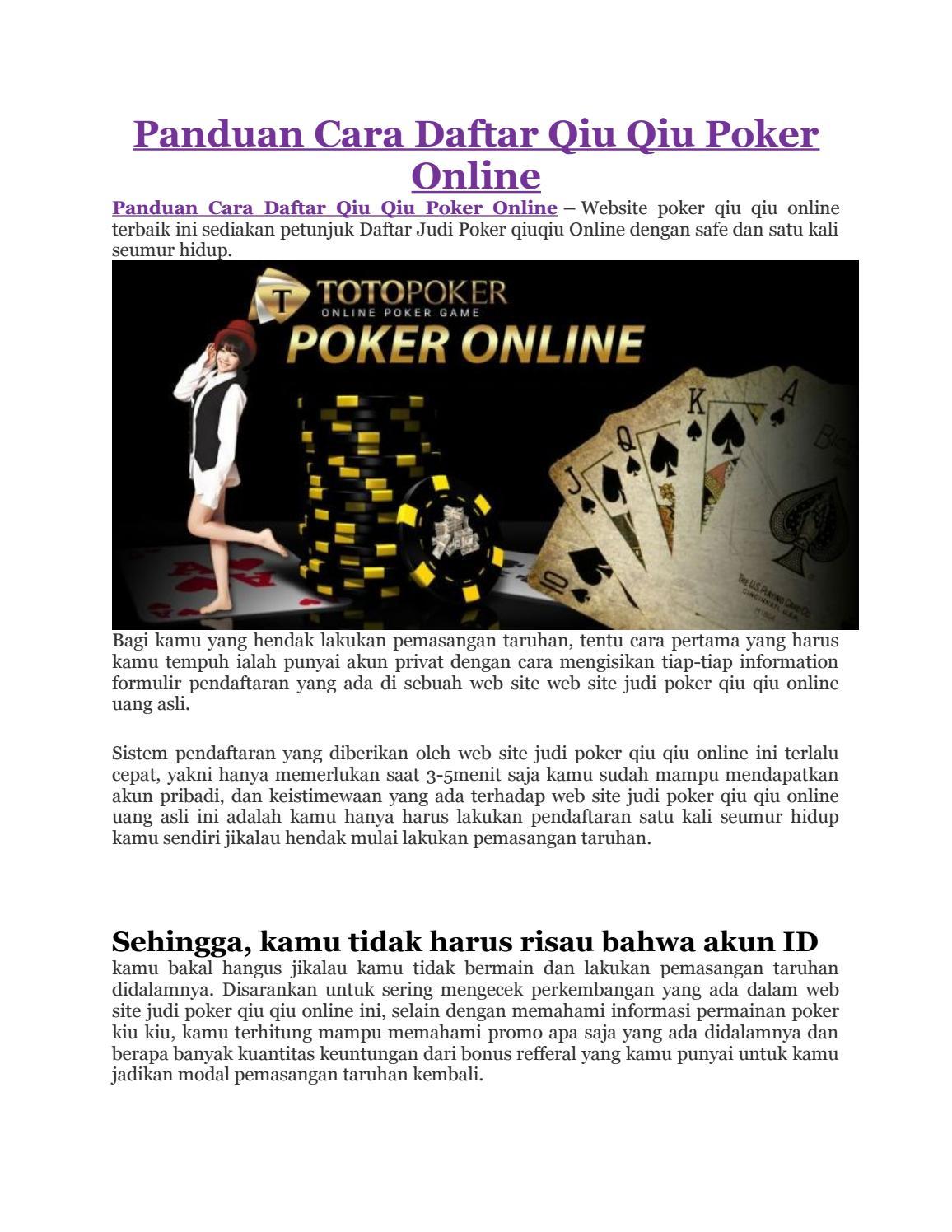 Panduan Cara Daftar Qiu Qiu Poker Online By Jennifer Angel Issuu